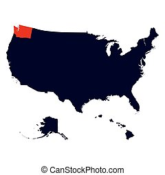 Washington State in the United States map vector