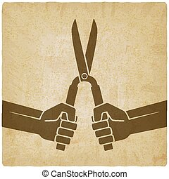 worker hands with shears old background. vector illustration...