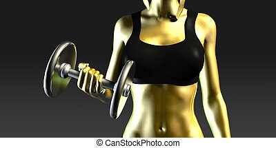 Woman Lifting Weights as a Fitness Concept
