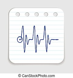 Doodle HEART RATE icon. Blue pen hand drawn infographic...