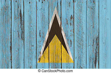 St. Lucia Flag  wood - St. Lucia Flag wood