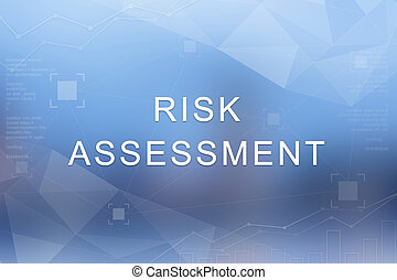 Risk assessment word on blurred and polygon background
