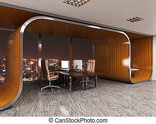 3D rendering of office space in the shopping center