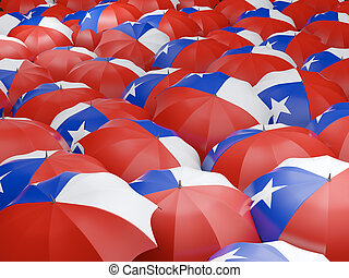 Umbrellas with flag of chile - Flag of chile on umbrella 3D...