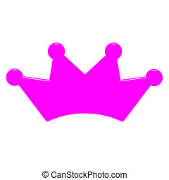 3D Pink Queens Crown - 3d pink queens crown isolated in...