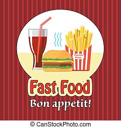 Lunch with french fries, hot dog and soda. Fast food.