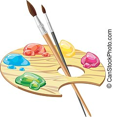 wooden art palette with brushes and paints vector illustration