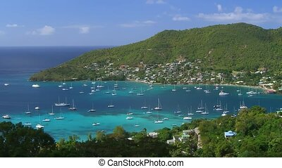 Time Lapse Movie Bequia Island - Moving Camera Many ships...