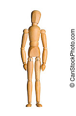 Wooden mannequin isolated - Wooden mannequin, standing doll...