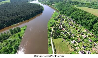 aerial view of river and forest - aerial view of river and...