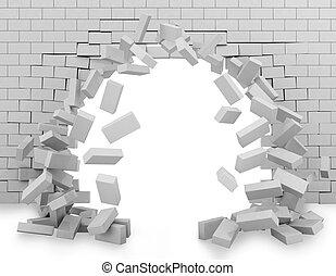 Wall broken through 3d rendering - Background of a brick...