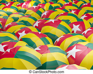 Umbrellas with flag of togo - Flag of togo on umbrella 3D...