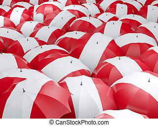 Umbrellas with flag of peru