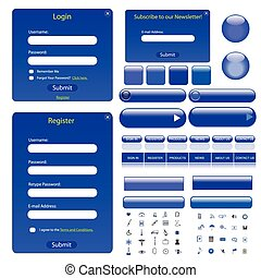 Web Template - Web template with forms, bars, buttons and...