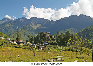 Bhutan, Paro - Bhutan, village Drukyeldzong in Paro valley...