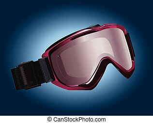Snowboarding goggles - Realistic vector illustration -...