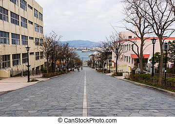 Hakodate, Hachiman zaka slope at Motomachi district, Japan....