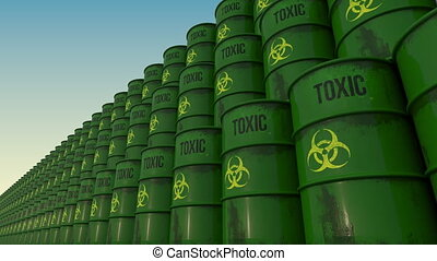 Lines of green barrels with toxic content. 4K seamless...