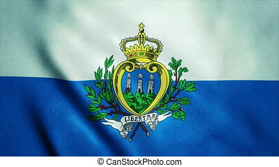Realistic Ultra-HD flag of the San Marino waving in the wind. Seamless loop with highly detailed fabric texture