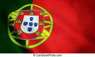 Realistic Ultra-HD flag of the Portugal waving in the wind....