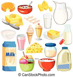 Dairy Product Food Collection - vector illustration of Dairy...