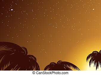 Starry sky amidst tropical palms. Illustration in vector...