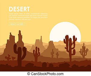 Sunset in desert with cactuses - Sunset in stone desert with...