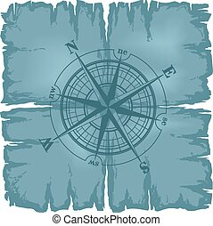 Old damaged sheet of paper with compass rose.