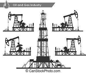 Set of oil pumps and rig silhouettes - Set of oil pumps and...