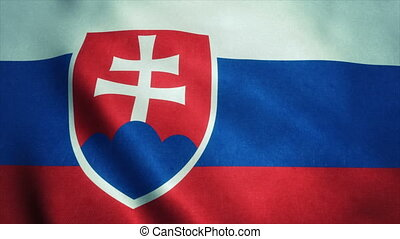 Realistic Ultra-HD flag of the Slovakia waving in the wind. Seamless loop with highly detailed fabric texture