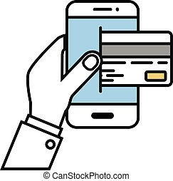 Mobile Payment concept - minimalistic illustration of a hand...