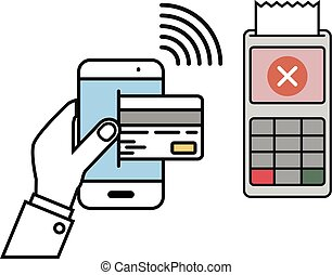 Mobile Payment declined - minimalistic illustration of a...
