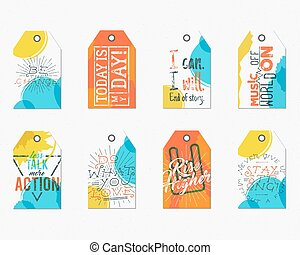 Collection of Creative tags with inspiration typography sayings, signs. Set of labels and motivation vector texts - more action, rise higher. Poster templates for web, prints on t shirt, tee design