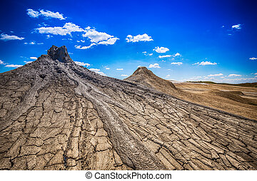 Active mud volcanoes in Buzau, Romania