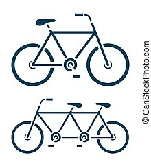 Two different bicycle icons, one a tandem bike - Two...