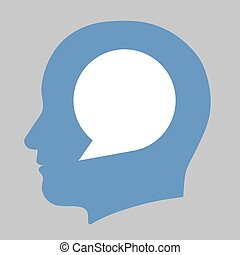Speech bubble inside a human head silhouette - Blank white...