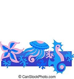 illustration of sea life reef
