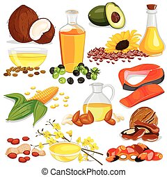 Different Sources of Edible Oil Collection - vector...