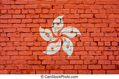 Flag of Hong Kong painted on brick wall, background texture