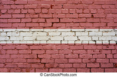 Flag of Latvia painted on brick wall, background texture