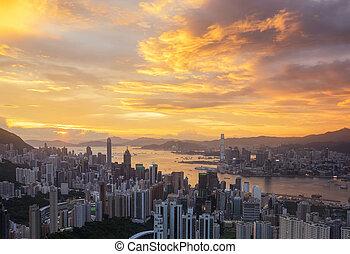 Hong Kong City Sunrise Night to day shot at Victoria park