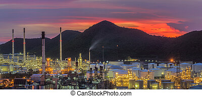 Landscape of oil refinery industry with oil storage tank,...