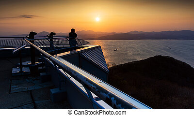 Silhouette sunset scenic from Mt. Hakodate ropeway,...