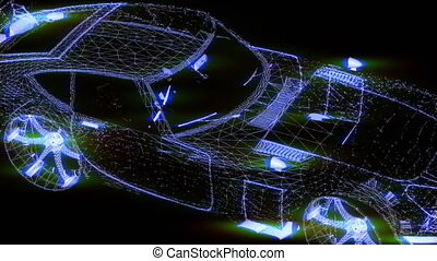 Wireframe sports car tanimation