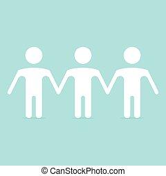 Human figures in row