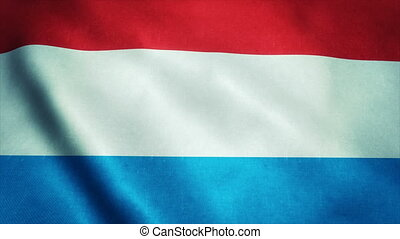 Realistic Ultra-HD flag of the Luxembourg waving in the wind. Seamless loop with highly detailed fabric texture