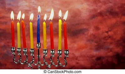 jewish holiday Hanukkah with menorah traditional Candelabra...