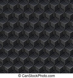 Black cube abstract background. 3D