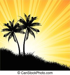 Palm tree background - Silhouettes of palm trees against a...