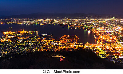 cityscape view from Mt. Hakodate Ropeway at dusk in...